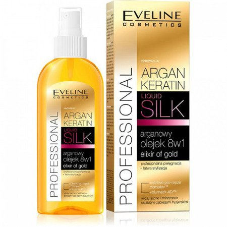 Eveline - Argan Keratin - Profesjonalna OLEJEK arganowy 8w1 do włosów osłabionych i zniszczonych, 150 ml.