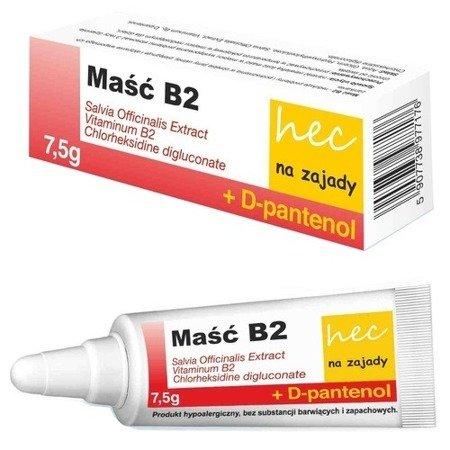 Maść B2 hec na zajady - Redukuje zajady i podrażnienia jamy ustnej, zawiera D-pantenol, 7,5 g.
