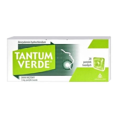 Tantum Verde o smaku miętowym, 20 pastylek do ssania.