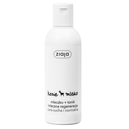 Ziaja - Kozie Mleko - MLECZKO+TONIK do demakijażu twarzy, polecany do cery suchej i narażonej na powstawanie zmarszczek, 200 ml.