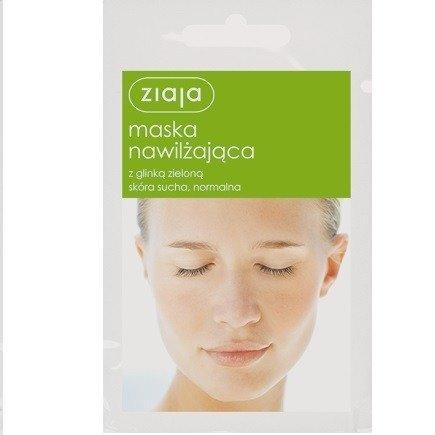 Ziaja - Maski z glinką - Maska Nawilżająca z glinką zieloną do cery suchej i normalnej, 7 ml.