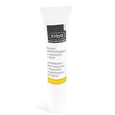 Ziaja Med - Kuracja Dermatologiczna z Witaminą C + HA/P, Rewitalizujący krem pod oczy i na powieki, 15 ml.